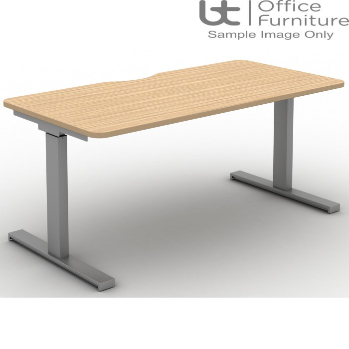 Move Set and Forget Rectangular Height Adjustable Sit-Stand Desk - Tops Scallop & Rounded Corners