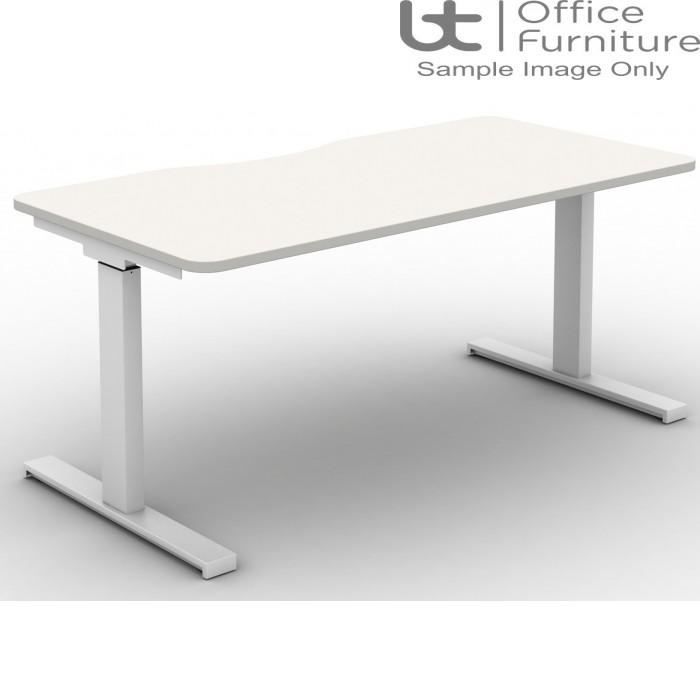Move Set and Forget Rectangular Height Adjustable Sit-Stand Desk - Tops with Long Scallop & Rounded Corners