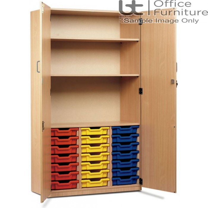 School Tray Storage - 21 Shallow Tray Fully Locking Cupboard, Upper Section Has Two Shelves