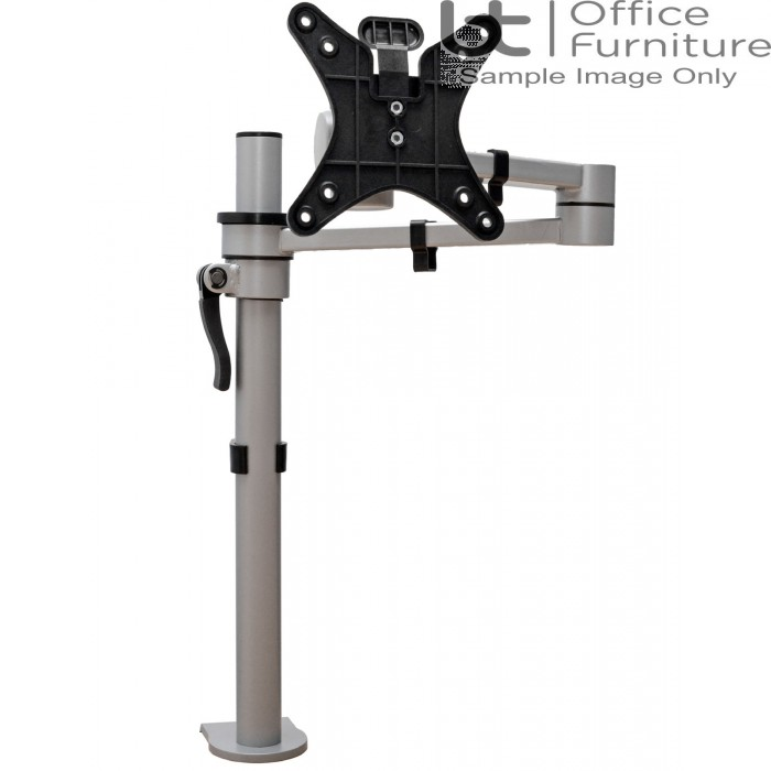 Vision S single pole monitor arm with C clamp, bolt through & grommet mount fixing kit with Quick Release VESA Plate