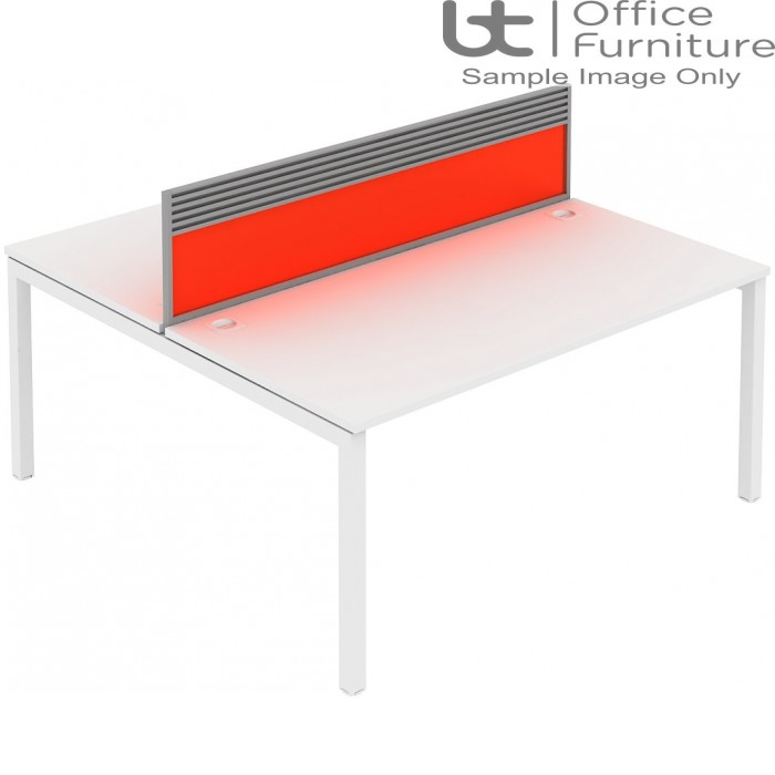 Elite Matrix Screen - Acrylic (Fixed Height) Screen with Management Rail For Double Desk