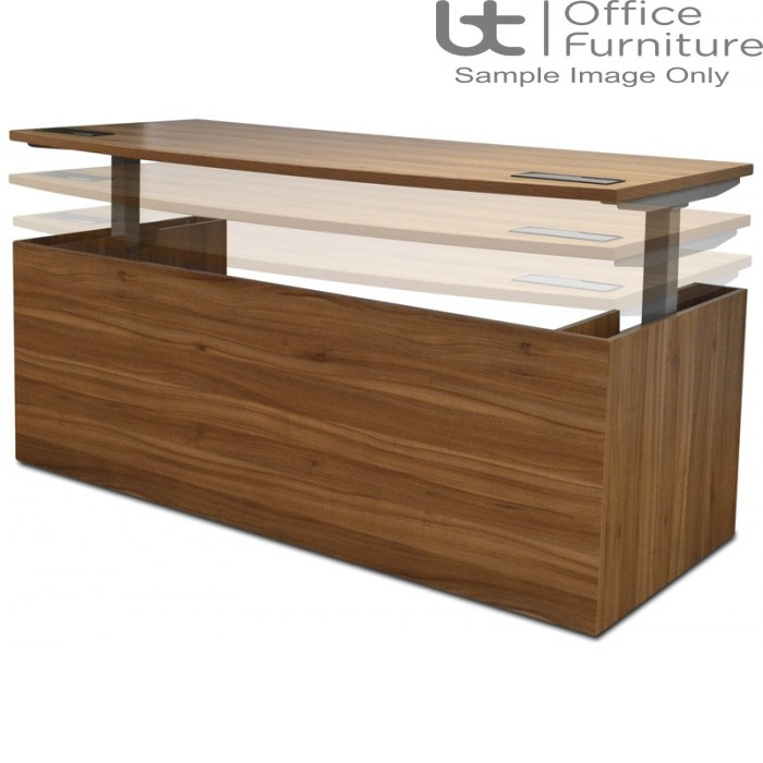 Aurora Executive Black Walnut Executive Bow Fronted Electric Height Adjustable Desk W2000 x D900 x H730 - 1130mm