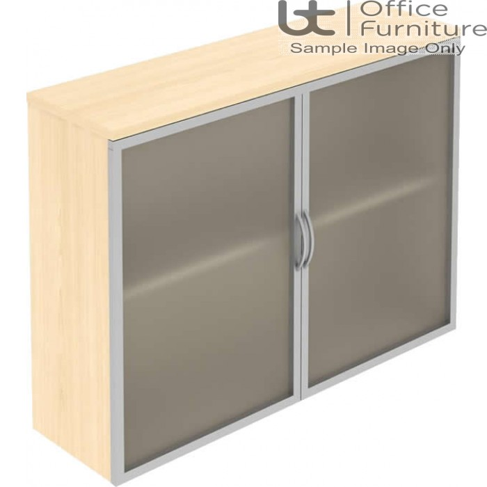Elite Opaque Glass Fronted Top Storage Unit with Aluminium Framed Hinged Doors