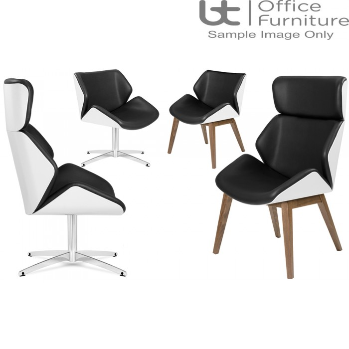 Elite White Lacquered Outer Shell Cascara Visitor & Lounge Chairs