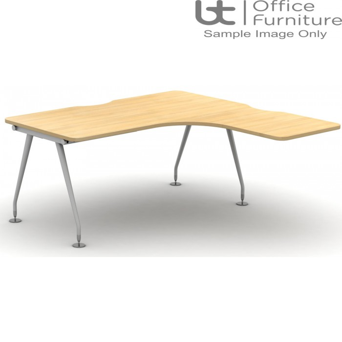 Vega Extended Crescent Desk For Supporting Pedestal 800D x 600Dmm - Right Hand Illustrated