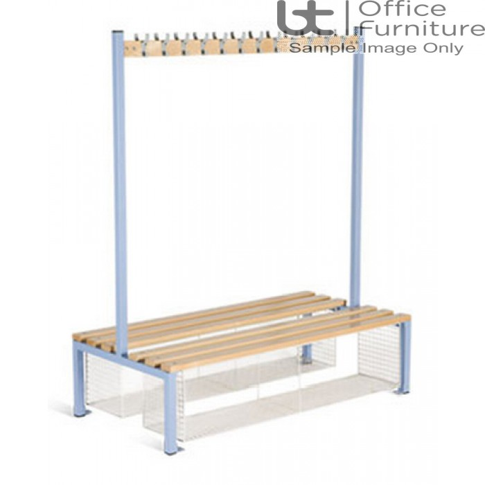 HOF Cloakroom Equipment - Double Sided Island Seating with Shoe Tray