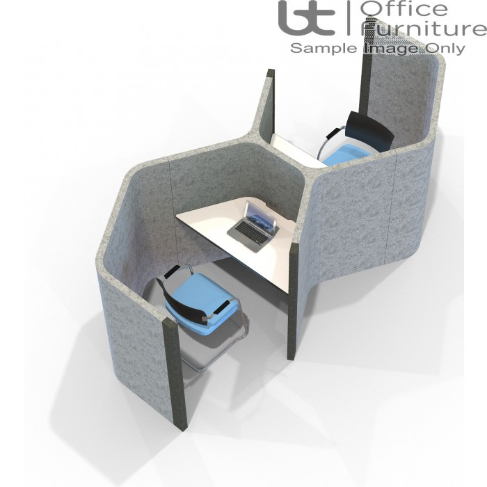 Acoustic Learning - End on End Hexagonal Double Study Booths Including Desks 1400mm High