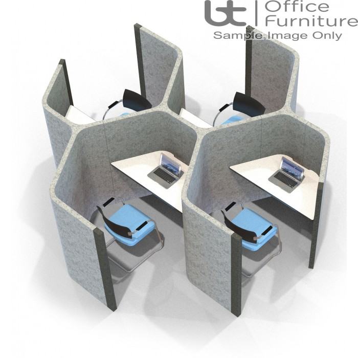 Acoustic Learning - End on End Hexagonal Quadruple Study Booths Including Desks 1400mm High