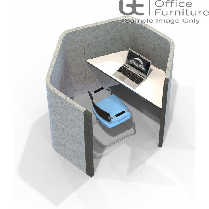 Acoustic Learning - Large Hexagonal Study Booth Including Desk (3 Height Options)