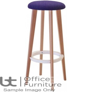 Verco Multi Pupose Seating - Button Stool + Upholstered Seat with Beech Leg Frame & White footrest
