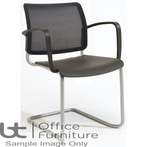Verco Visitor / Conference Seating - Add Cantilever Mesh Back Plastic Stacking Chair with Arms