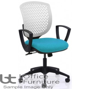 Verco Operator/Task Chair - Carlo White Medium Back Task Chair with Arms