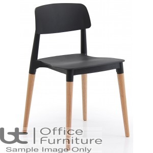 Verco Visitor / Conference Seating - Cleo Black Medium Back Stacking Chair