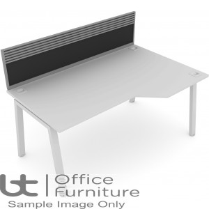 Elite Linnea System Screen - Fabric Screen With Management Rail For Single Desk