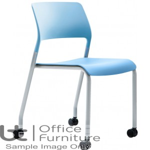 Verco Visitor / Conference Seating - Muse 4 legged Blue Plastic Stacking Chair On Castors
