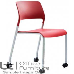 Verco Visitor / Conference Seating - Muse 4 legged Red Plastic Stacking Chair on Castors