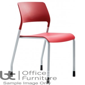 Verco Visitor / Conference Seating - Muse 4 legged Red Plastic Stacking Chair