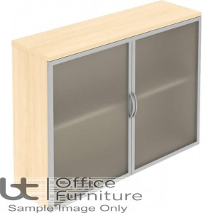 Elite Storage Solutions Opaque Glass Fronted Top Storage Unit with Aluminium Framed Hinged Doors