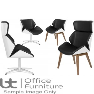 Elite Lounge Seating - White Lacquered Outer Shell Cascara Visitor & Lounge Chairs