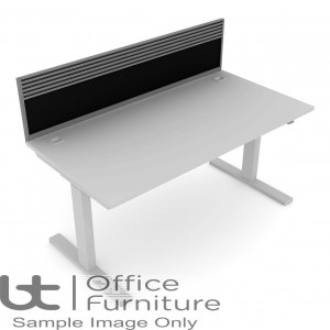 Elite Progress Screen - Fabric System Screen With Management Rail For Single Desk