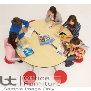 Folding Mobile Round School Dining Table Seats 8 People