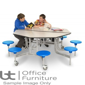 Folding Mobile Octagonal School Dining Table Seats 8 People