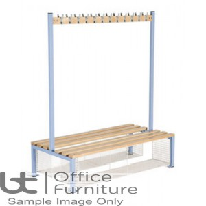 Locker Room (EL) -  Double Sided Island Seating Bench with Shoe Tray for Changing Room