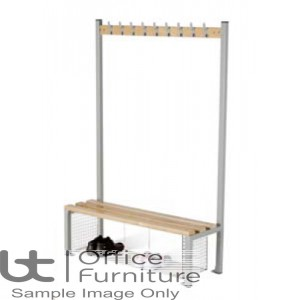 Locker Room (EL) -  Single Sided Island Bench with Shoe Tray for Changing Room
