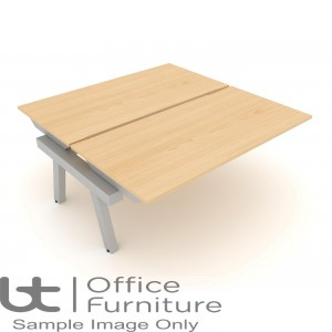 Elite Linnea Elevate Fixed Height Double Bench Desk with Shared Inset Leg