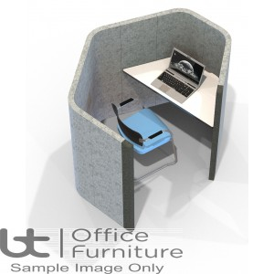 Acoustic Learning - Hexagonal Study Booth Including Desk (3 Height Options)