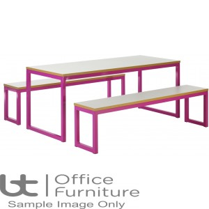 City 40/40 Robust 40mm Laminate Top School Bench Dining Sets W1800mm (Premium Frame Colours)