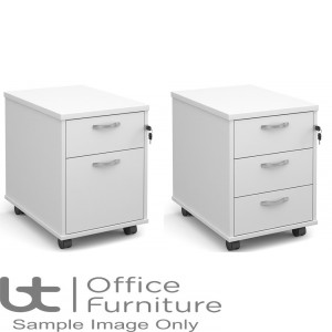 Aurora White 2 & 3 Drawer Low Mobile Pedestal With Silver Handles