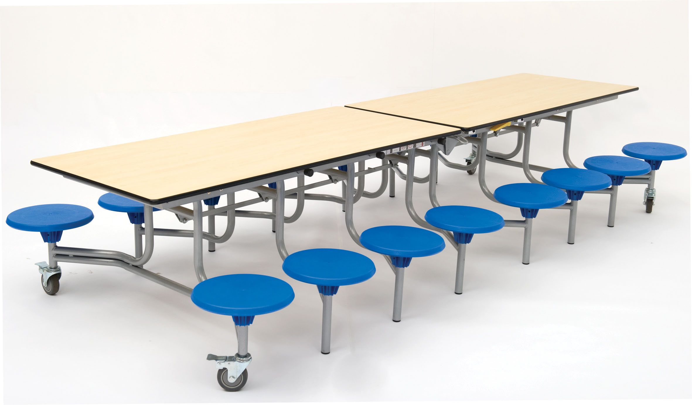 Folding Mobile Rectangular School Dining Table Seats 16
